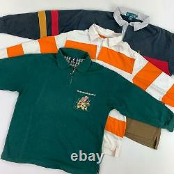 25 x GRADE B UNBRANDED VINTAGE RUGBY TOPS / POLO SHIRTS MIX WHOLESALE JOB LOT