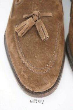 $650 Crockett & Jones Cavendish 8.5 7.5 E Tassel Loafer Brown Suede Hand Grade