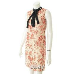 AUTHENTIC GUCCI 2015 Linen Ribbon Ruffle Dress Floral 417660 GRADE AB USED MD