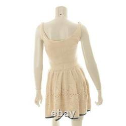 Authentic Chanel 12A Cotton Sleeveless Knit Dress P38508 Beige Size 36 Grade AB