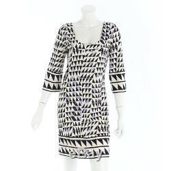 Authentic Diane Von Furstenberg Silk Dress White Black Purple Grade A Used At