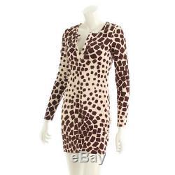 Authentic Diane Von Furstenberg Silk Giraffe Dress Beige Grade Ab Used At