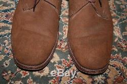 Church's Custom Grade Brown Suede Bluched Plain Toe Dress Shoe 8.5 E England