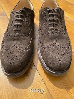 Churchs Custom Grade Brogues Size 12/45 Suede Brown Hand Made In England Mint