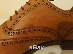 Crockett & Jones Hand Grade Downing Tan Brown Fullbrogue Oxford shoes SIZE 8 F