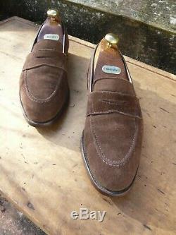 Crockett & Jones Hand Grade Loafers Brown Suede Uk 7 Excellent Condition