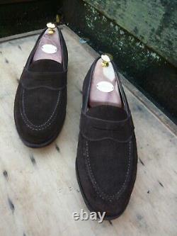 Crockett & Jones Hand Grade Saddle Loafers Brown Suede Uk 9.5 Worn Once