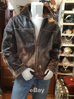 G-III Apparel Men's XL Distressed Brown Heavy Grade Leather Jacket Worn Classic