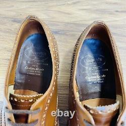 Men's Brown Vintage Leather Church's Custom Grade Brogue Shoes Size UK 9.5 F