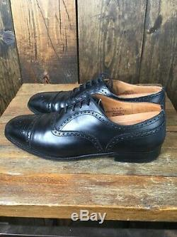 Men's Churchs Custom Grade Diplomat Black Brogue Cap Toe Dress Shoes US 10.5