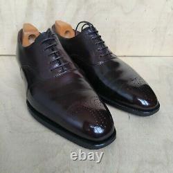 RRP £580 Crockett Jones HAND GRADE UK 8 Dark Brown Oxford Mens Shoes