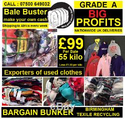 UKs largest supplier of used clothes for export 55 kilo bales grade A