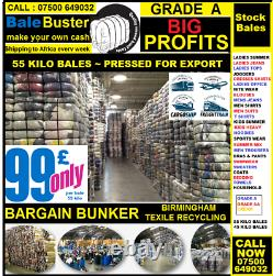 USED CLOTHES BALES 55 KILO GRADE A, UKs LARGEST SUPPLIER VISIT OUR FACTORY