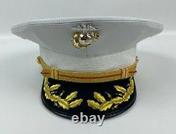 USMC Marine Corps Field Grade Officer Dress Cap Hat White Kingform Size 7 1/2