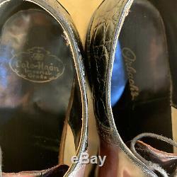 VTG Cole Haan Imperial Grade SHELL CORDOVAN/CROCODILE Black/Burgundy Oxfords 12B