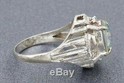 Vintage AAA Grade Opal Triplet Womens Cocktail Dress Ring & 14ct White Gold