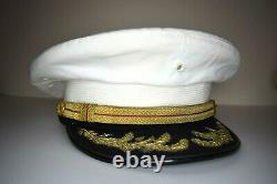WWII USMC Field Grade Officer Dress Blue Barracks/Service Cover no EGA Bullion