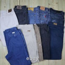 Wholesale Job Lot Vintage Branded Jeans and Cotton Trousers Mix X26 Grade A